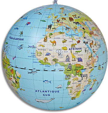 globus fizyczny ze zwierz tami dmuchany 50 cm globusy globobary i inne globusy du e 42. Black Bedroom Furniture Sets. Home Design Ideas