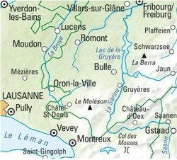 Gruyere, Montreux, Chateau-d'Oex nr 15. Mapa rower