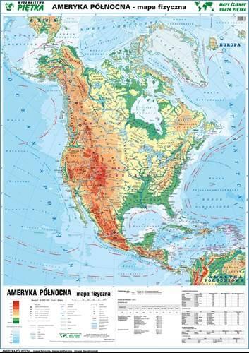Ameryka Polnocna Fizyczna Polityczna Mapa Scie Mapy Scienne