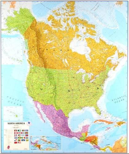 Ameryka Polnocna Polityczna Mapa Scienna 1 7 000 Mapy Scienne