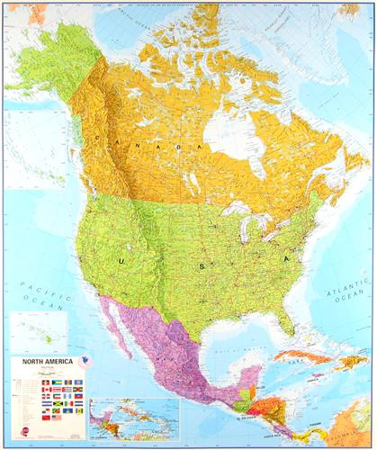 Ameryka Polnocna Szkolna Mapa Scienna