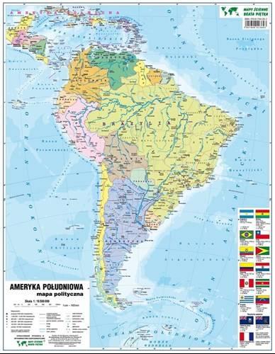 Ameryka Poludniowa Fizyczna Polityczna Mapa Sc Mapy Scienne