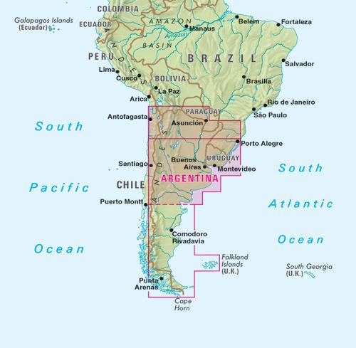 Argentyna Polnocna Urugwaj Wodoodporna Mapa Sam Mapy I Atlasy