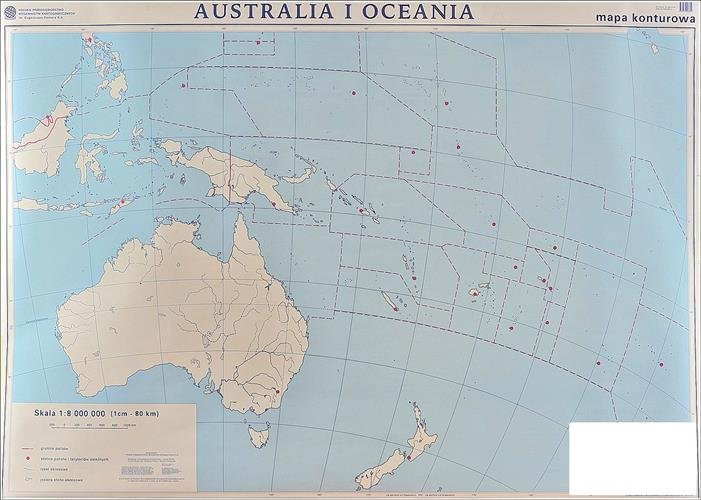 Australia I Oceania Polityczna Konturowa Mapa Scienna