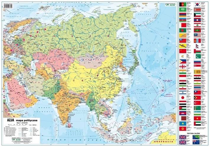 Azja Fizyczna Polityczna Mapa ścienna 122 000 Mapy ścienne
