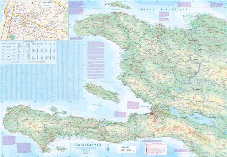Dominikana Haiti Wodoodporna Mapa Samochodowa 1 400 000 1 350
