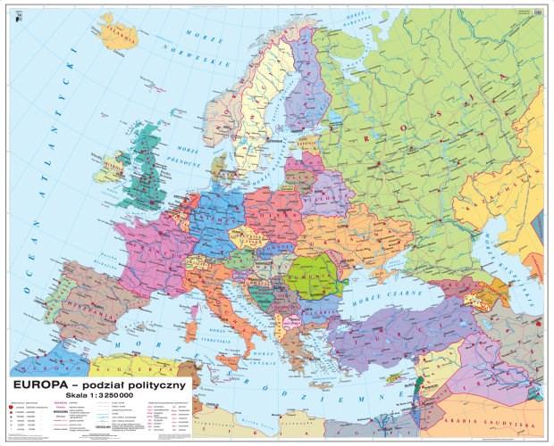 Europa Podział Polityczny Polska W Europie Mapa Mapy ścienne