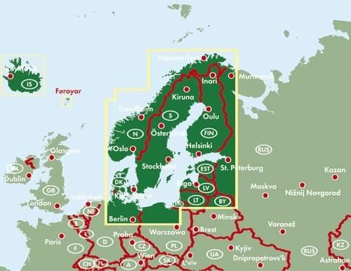 Europa Polnocna Skandynawia Mapa Samochodowa 1 2 000 000 Mapy