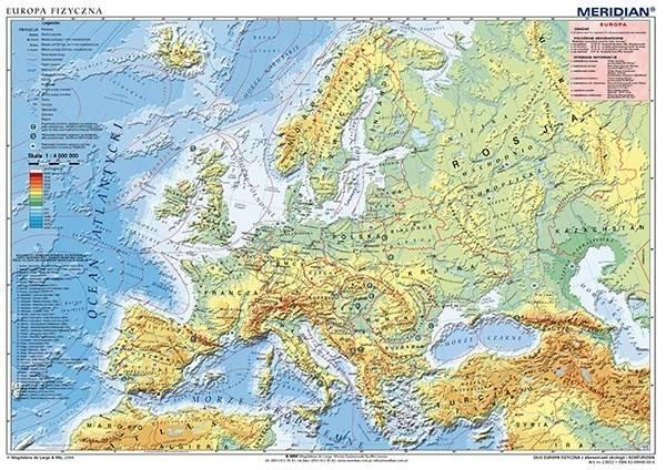 Europa Fizyczna Konturowa Mapa ścienna 14mln Księgarnia