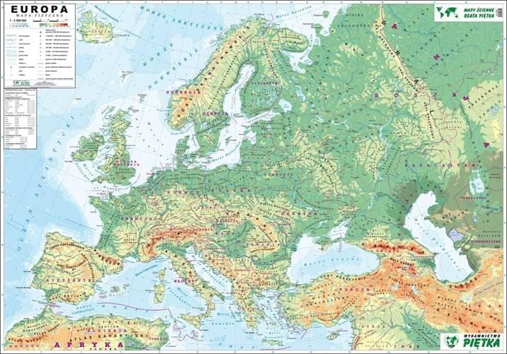 Europa Fizyczna Konturowa Mapa Scienna Dwustronna 1 3 300 000