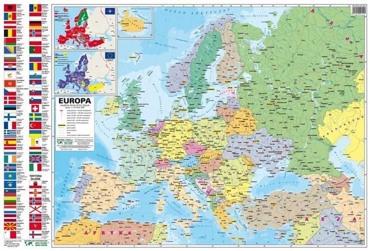 Europa Fizyczna Polityczna Mapa Podreczna Papierowa 1 10 000