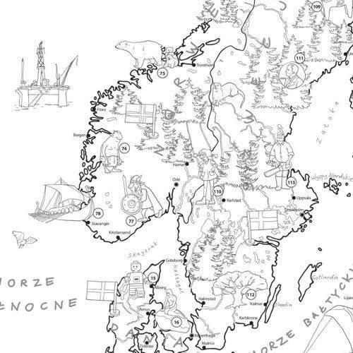 Europa Kolorowanka Dla Dzieci Xxl Mapa ścienna Mapy ścienne