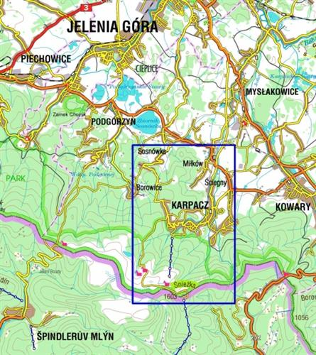 Karpacz I Okolice Foliowany Plan Miasta Mapa Okolic 1 12 500