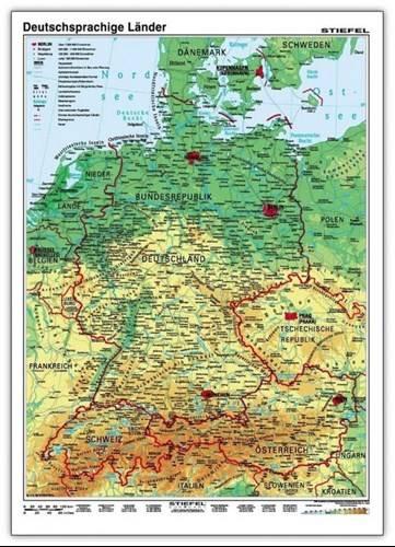 Kraje Niemieckojezyczne Fizyczna Mapa Scienna 160 X 120 Cm