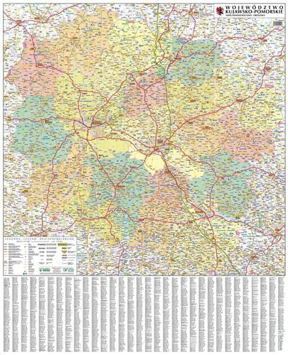 Kujawsko Pomorskie Administracyjno Drogowa Mapa Mapy Scienne
