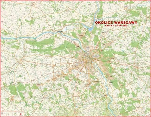 Okolice Warszawy Mapa Scienna 1 100 000 Mapy Scienne Regiony