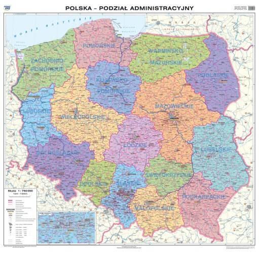 Polska Mapa ścienna Ogólnogeograficznaadministra Mapy ścienne