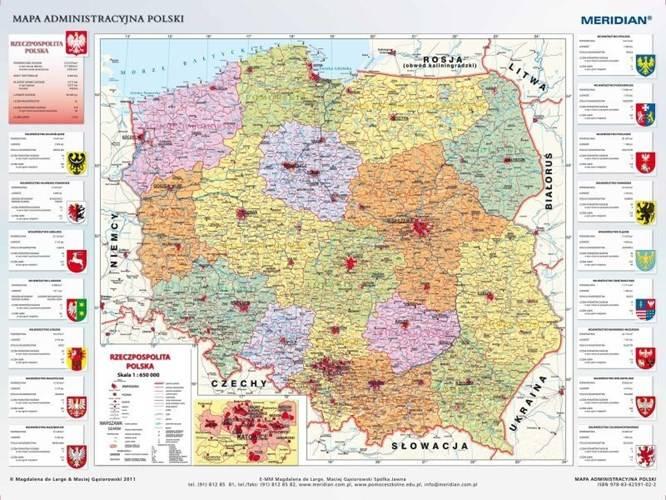 Polska Administracyjna Mapa Scienna 1 650 000 Ksiegarnia