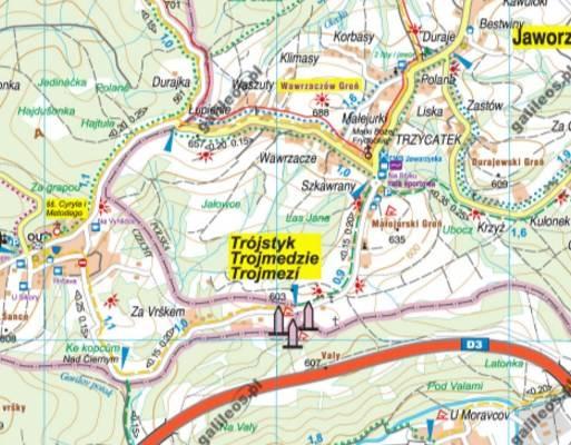 Trojstyk Granic Polska Czechy Slowacja Mapa Tur Mapy I Atlasy