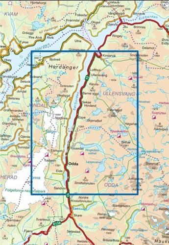 Trolltunga Odda Ullensvang Nr 2825 Mapa Turystyczna 1 50 000