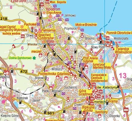 Wojewodztwo Pomorskie Mapa Krajoznawczo Samochodowa 1 230 000