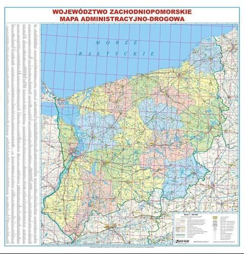 Wojewodztwo Zachodniopomorskie Mapa Scienna Mapy Scienne
