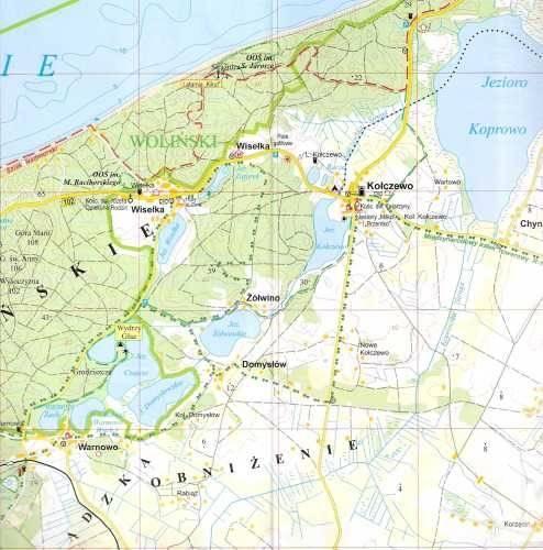 Rewelacyjny Wybrzeże Bałtyku I: Wolin, Świnoujście, Dziwnów, Niechorze. Mapa LQ22