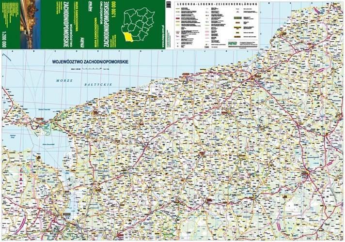 Zachodniopomorskie Mapa Samochodowa 1 200 000 Mapy I Atlasy