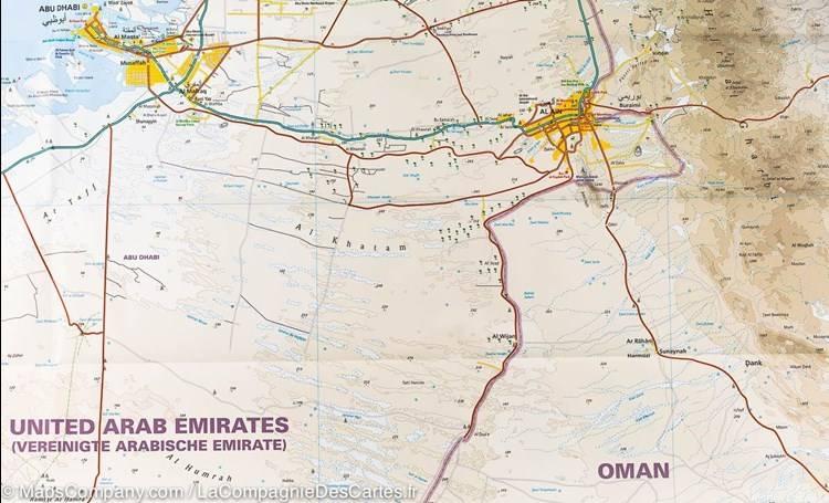 Zjednoczone Emiraty Arabskie Dubaj I Abu Dabi Wodoodporna Mapa